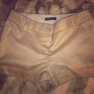 Express Gold Sparkly Shorts